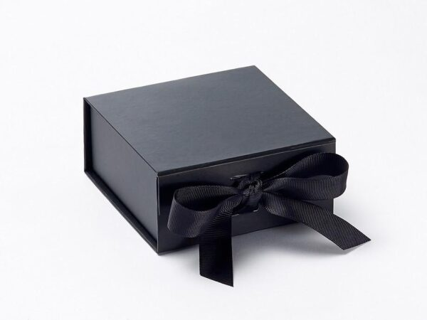 Black Emboss Printed With Ribbon Box