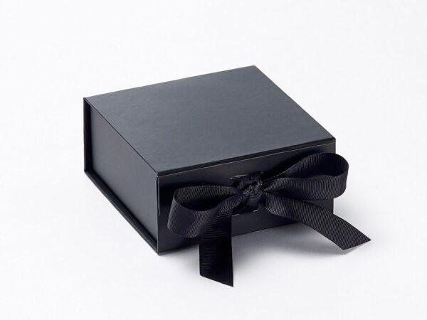 Black Emboss Printed With Ribbon Box