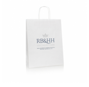 Printed White Twisted Handel Carry Bag